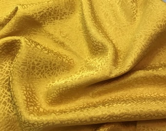 Hand Dyed Honey Mustard Yellow PEBBLES - Silk Jacquard Fabric - 1 Yard
