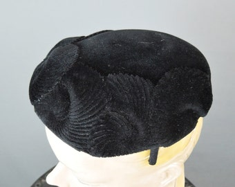 Vintage 1950s Hat Black Plush Velour with Scallops, fits any size head, Evening Hat