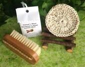 Gardener's Gift Set:  gardener's soap, rustic alder wood soap dish, double bristled nail brush and crocheted scrubbie