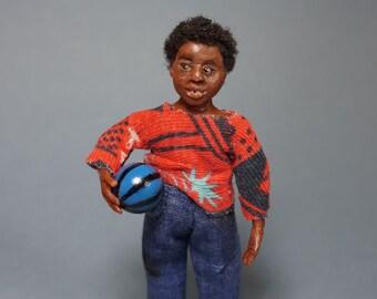 Tariku  - a ooak 12th scale African miniature boy / dollhouse doll by CWPoppets