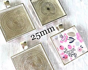 25  Square Pendant Trays Bezels 1 inch  Silver  25 mm STURDY Settings Glass Tile Pendants