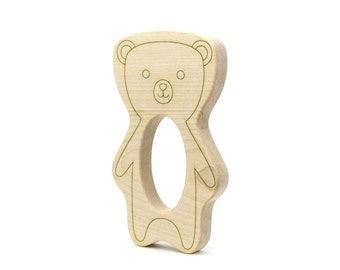 Teddy Bear Wood Toy Teether - Wood Teether - Personalized Teether - Baby Gift - Wood Baby Toy - Wooden Teether - Bear Toy -TE10