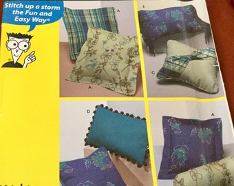 Simplicity 9873 Home Decorating Easy Pillows in Various Styles uncut