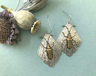 Bug Earrings, Beetle Earrings, Scarab Earrings, Insect Jewelry, Brass Beetles, Victorian Beetles, 925 SS Wire, Dangle, Gothic, Creepy