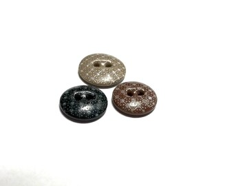 RESERVED - Three Antique Calico Buttons With Dark Bodies -RESERVED