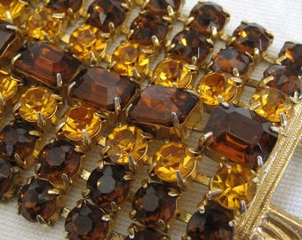 Huge Wide VINTAGE Amber & Rootbeer Rhinestone Costume Jewelry Bracelet
