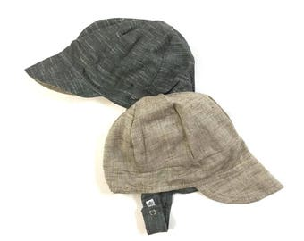 UB2 CAPPUCCINO a solid, thread-dyed, slug-woven chambray baby BOY newsboy sun hat in gray and beige, by The Urban Baby Bonnet (all sizes)