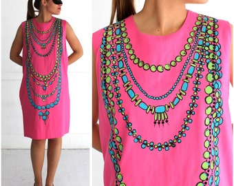 Vintage 60's/70's Hot Pink Shift Dress with Printed Faux Trompe l'oeil Neon Necklaces  | Medium/Large