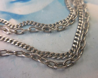 Sterling Silver Ox Plated Vintage Brass Link Double Chain Necklace 6012SOX x1