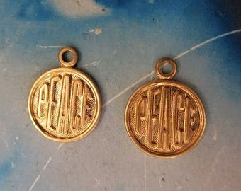 Natural Raw Brass 11mm Peace Charms 377RAW x2