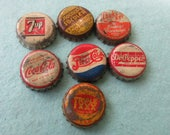 7 vintage bottle caps , cork lined, Dr Pepper, Coca Cola, Pepsi, 7 Up and more