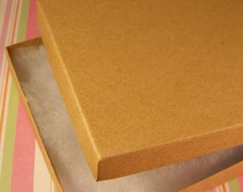 Spring Sale 10% off 100 Pack Cotton Filled Kraft Brown Color Jewelry Gift and Retail Boxes 6.25 X 5.5 X 1 Inch Size