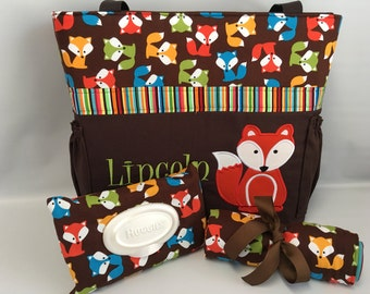 Fox Diaper Bag SET ... Urban Zoologie ... Brown  FOXES .. DIAPER Bag ... Wipe Cover ... Bottle Pockets ... Personalized Free
