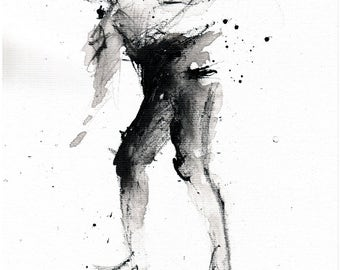 A4, 8x12in ink painting on canvas 20x30cm - abstract dancer shuffle 1