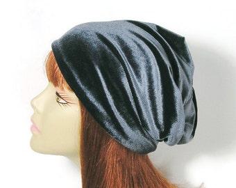 Gray Velvet Slouchy Beanie Velvet Chemo Hat Chemo Cap for Hair Loss Gray Velvet Hat Grey Velvet Slouchy Beanie Grey Velvet Slouchy Hat