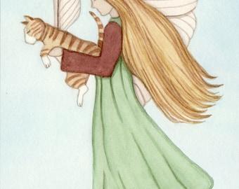 Tabby cat / angel / fairy / Lynch signed folk art print