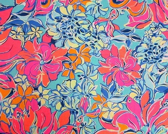 Dog Leash made with Lilly Pulitzer fabric - Blue & Pink Small/Large Sizes All Breeds Summer 2017 - 'Breezy Babe'