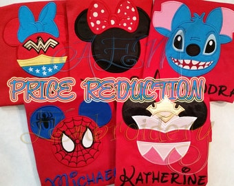 RED Shirt Personalized Mousehead shirt Price Reduction Any mousehead in the store Valid ONLY on the sizes listed Short Sleeved Shirts ONLY