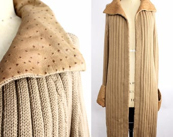 Vintage Mondrian Italy Long Cardigan Sweater | Ostrich Embossed Leather Cuff and Collar Coat | Virgin Wool Ribbed Knit Long Cardigan | 40