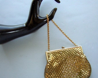 Vintage Purse Gold Metal Mesh Small Handbag Prom or Date Night - CLEARANCE