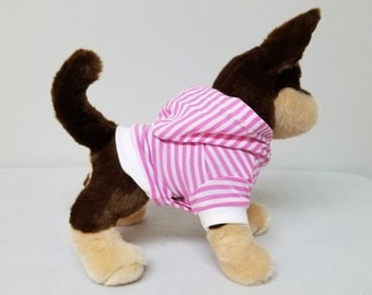 Dog Clothes Pink Striped Hoodie, Chihuahua, Yorkie