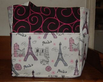 paris effiel tower pink black swirl tote bag/purse/ diaper bag