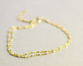 Gold Silver Chain Bracelet, Two Tone Bracelet, Double Strand, Minimal