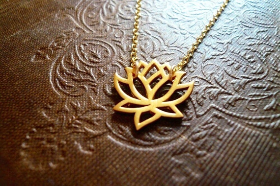 Blooming Lotus Flower Necklace in Natural Brass and Gold Filled