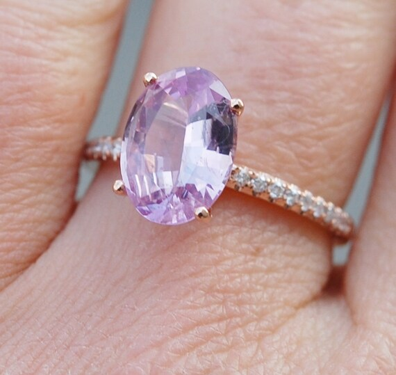 Blake Lively Engagement ring. 2.6ct Pink Sapphire Engagement Ring oval cut 14k rose gold diamond ring by Eidelprecious