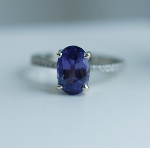 Blake Lively Violet Blue sapphire ring 14k white gold diamond ring 2.6ct purple blue sapphire ring