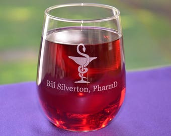 Personalized Engraved Pharmacist Good Day/Rough Day Wine/Beverage/Pilsner Glass~Keepsake Graduation Gift~Pharmacologist Gift~Pharmacy~RX~RPh