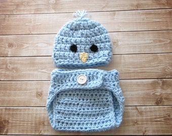 Baby Boy Easter Outfit, Baby Chick Hat, Baby Boy Hat and Diaper Cover, Baby Easter Hat, Newborn Easter Hat, Baby Bird Hat, Newborn Boy Hat
