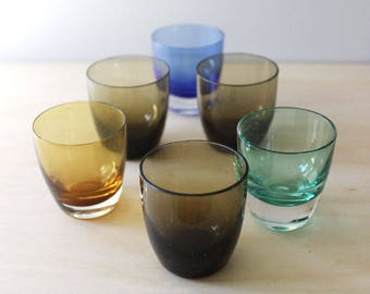 Mid century barware  shot glasses, 1950s set of six. Gralglas made in Germany.