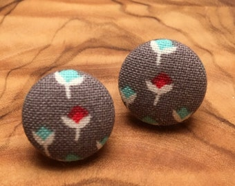 Button Earrings // Floral Fabric Button Earrings