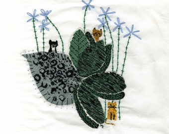 Garden Cats. Original embroidered art by Vivienne Strauss.