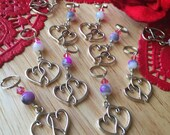 Two of Hearts: Set of 5 Linked Heart Stitch Markers for Valentine Delight!