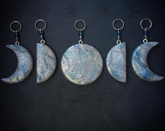 Moon Glow: Set of 5 Beautiful Waxing and Waning Moon Phase Sparkle Stitch Markers