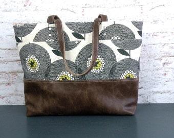 Skinny LaMinx purse, Tablet bag, Leather bottom bag, Computer tote, Tote handbag, Knitting bag, Large purse, Carryall floral print bag