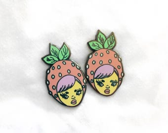 Strawberry Peach Enamel Earrings Pair - 1 inch