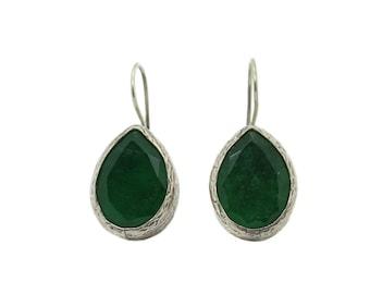 Emerald Sterling Silver Hammered Teardrop Earrings - SALE