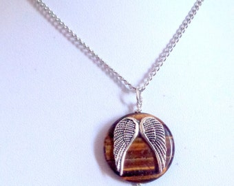 Angel Wings Necklace, Tiger Eye Necklace, Stone necklace, Wing Necklace
