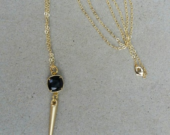 Beautiful Swarovski Crystal Long Spike Necklace, Jet Black