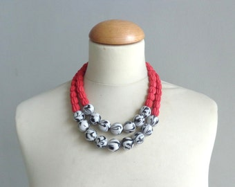 Red black white statement necklace double strand