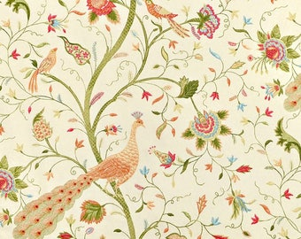 Bird, Vines, and Floral Drapery Panels - Pair/ 2 Panels - Richloom Mirth Bouquet Fabric