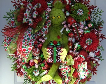 Per-order 2017 Custom Order, Christmas wreath, Grinch wreath, Holiday wreath, Front door wreath, Grinch max plush,  Door wreath