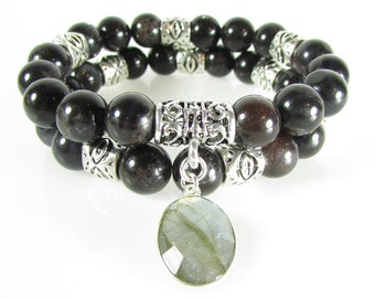 Black Moonstone Bracelet Set, Statement Bracelet, Boho Bracelet, Charm Bracelet, Gemstone Bracelet