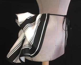 Half Price Sale - Add a Mini Bustle Skirt by LoriAnn - Victorian Black and White Stripe Design