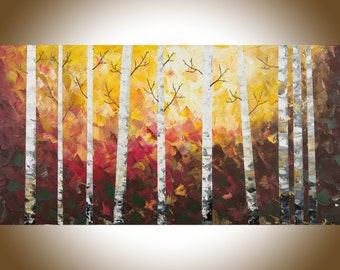 "Birch tree painting large wall art painting on canvas  wall decor Palette Knife painting wall art wall hanging ""Autumn birch"" by QiQiGallery"