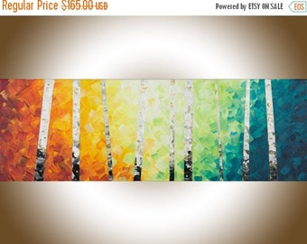 Colourful painting narrow wall art birch rainbow Color painting on canvas yellow orange blue green white black office wall decor by qiqi