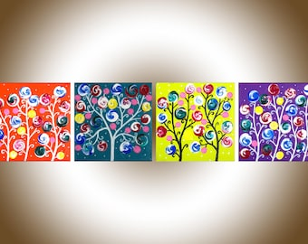 Nursery art nursery wall art set of 4 whimsical art wall decor abstract swirl flower painting Impasto painting on canvas by qiqigallery